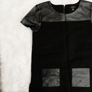 Ann Taylor Petite Black Leather Detail Blouse
